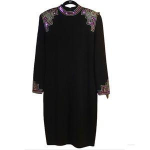 St John Vintage Black Santana Knit Dress Size 12